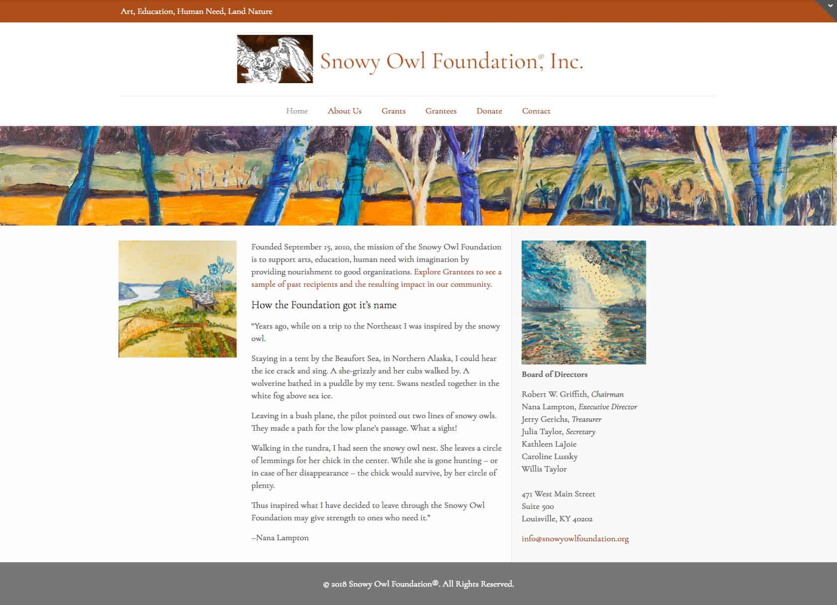 Snowy Owl Foundation Website