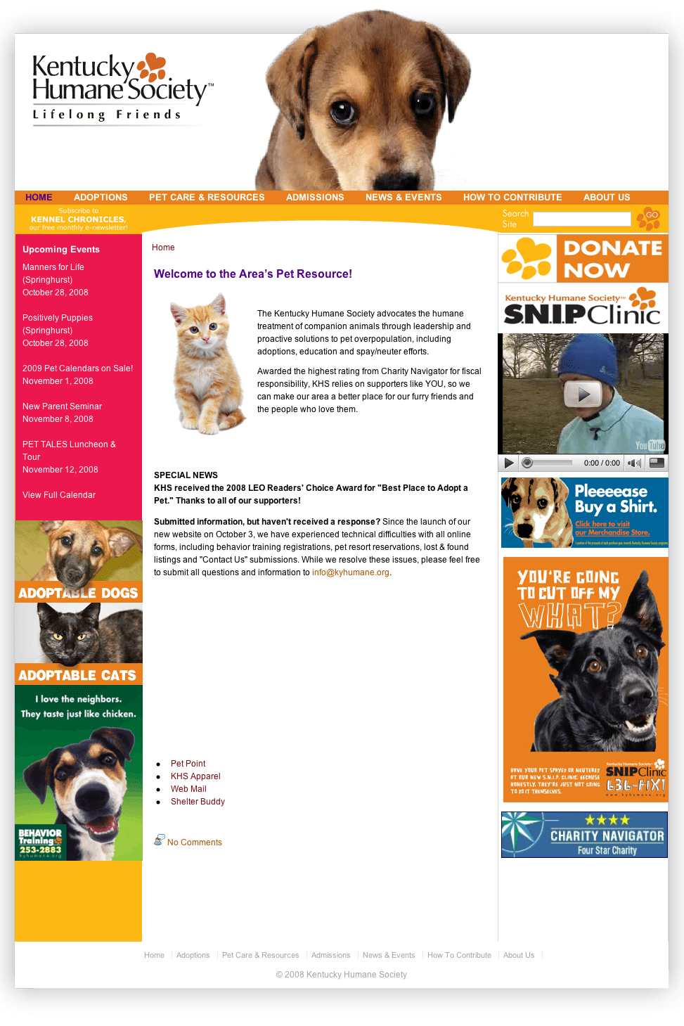Kentucky Humane Society web site (front end)