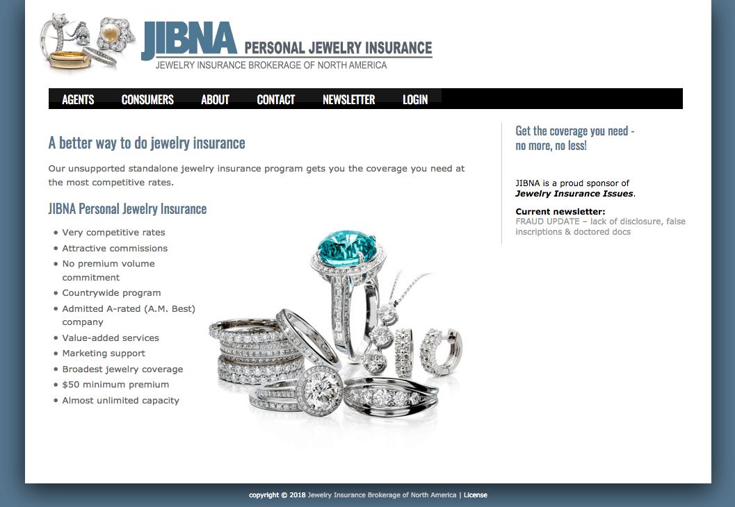 JIBNA Personal Jewelry Insurance web site